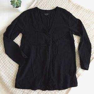 Topshop Crossover Back V-Neck Long Sleeve Blouse